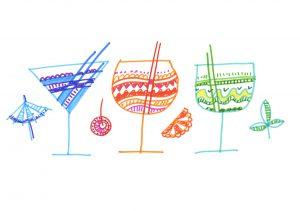 Fotolia 114999313 Subscription Monthly M 300x211 - tropical cocktail or lemonade. hand drawn color line illustration. pen artwork